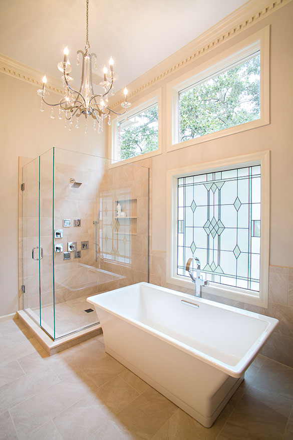 st louis master bathroom remodel with chandelier roeser home remodeling construction