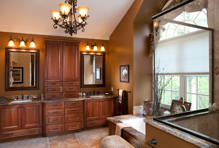dark wood master bathroom remodel St. Louis Roeser