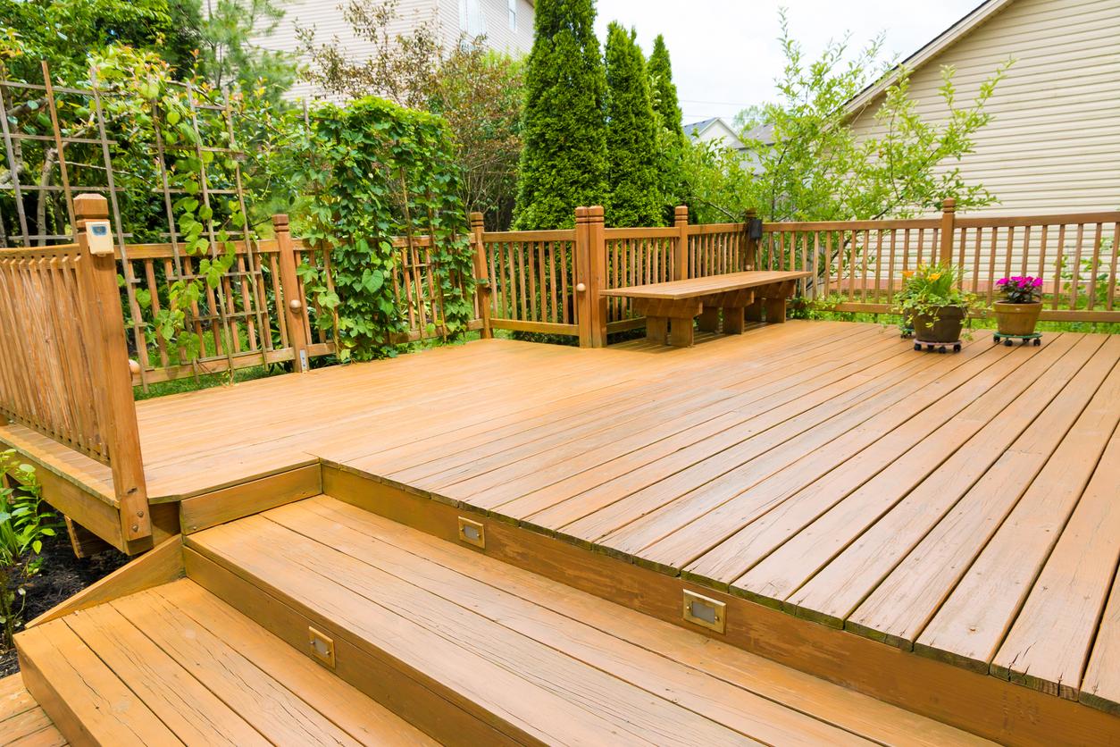 step-down wood deck