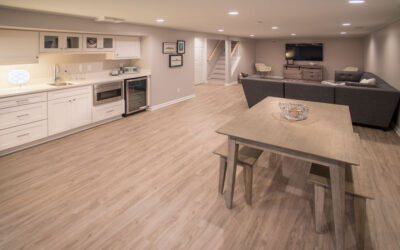 Basement Remodel with full bath, wet bar, and kitchenette